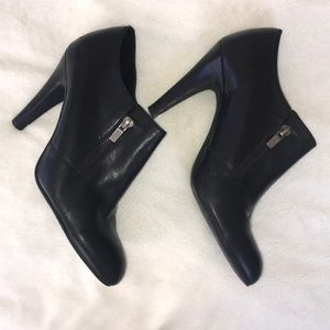 Franco Sarto black leather booties with zippers